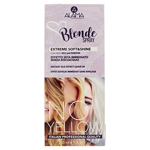 Alama Professional No Yellow Blonde Spray Extreme Soft&Shine - Effetto Seta Immediato - Senza Risciacquo per Capelli Biondi, Grigi o Decolorati - 100 ml