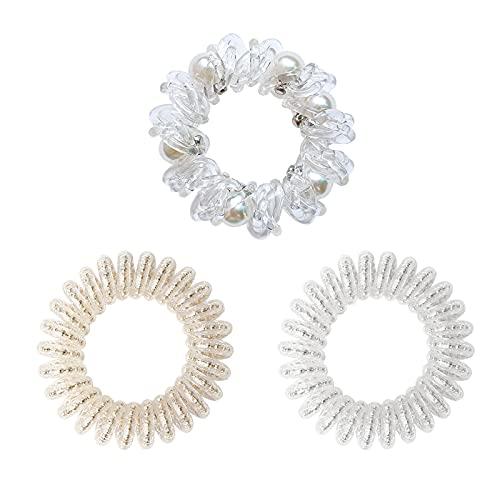 Uni-fine 3 Stili Elastici a Spirale, Elastico a Spirale per Capelli Titolare Spirale Perlata Senza Forza Forte Tenuta per Le Donne (Trasparente)