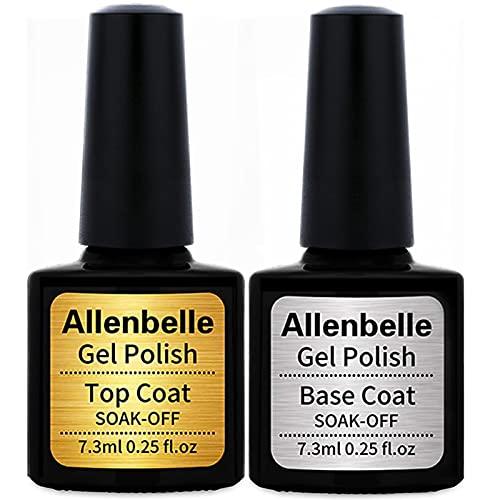 Allenbelle Smalto Semipermante Per Unghie Kit In Gel Uv Led Smalti Semipermanenti Per Unghie Nail Polish UV LED Gel Unghie (Base and Top Coat)