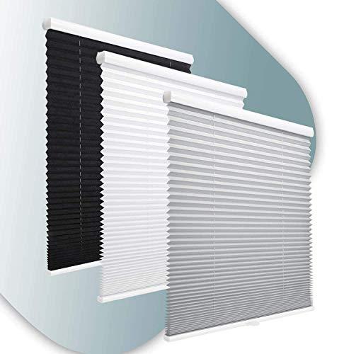KINLO Tenda avvolgibile Plissettata Senza Fili, Senza Viti, con Supporto a Morsetto (60 x 130 Bianco), Opaca, Protezione Solare per finestre e Porte (60 X 130 Cm, Grigio.)