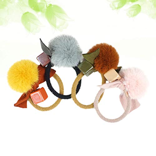 Lurrose - Elastico per capelli con pompon in pelliccia, per bambine, 4 pezzi
