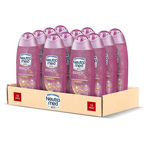 Neutromed Magic Oil Bagnoschiuma Nutriente, Docciaschiuma al Profumo di Gelsomino Rosa, Confezione da 12 pezzi x 250 ml
