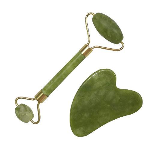 Jade roller,Massaggiatore a rullo in giada mreechan, pezzo raschiante, rullo per massaggio viso e collo in giada naturale, rullo per trattamenti di bellezza per il viso, set da 2 pezzi
