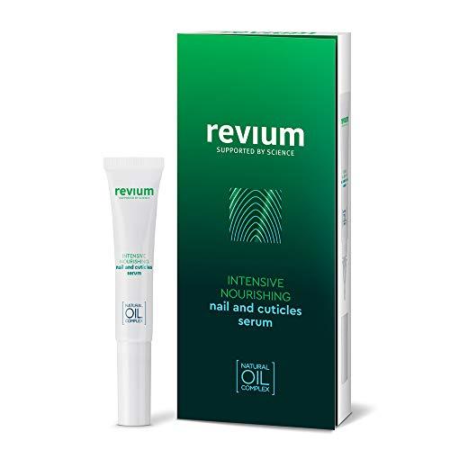 Revium, siero intensivo nutriente per unghie e cuticole, con mirra, olio di semi cotone, mandorla, canola e olio di germe di grano, arricchito con vitamine A-E-F-C, lecitina, 7ml