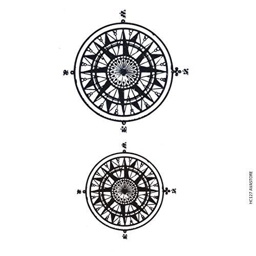 AVASTORE - Tatuaggio temporaneo da uomo, bussola, colore: Nero
