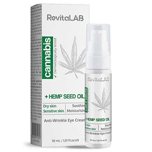 RevitaLAB Crema contorno occhi all'estratto di cannabis con olio di semi di canapa 30 ml - Crema idratante antietà dermatologicamente testata per un aspetto levigato intorno agli occhi