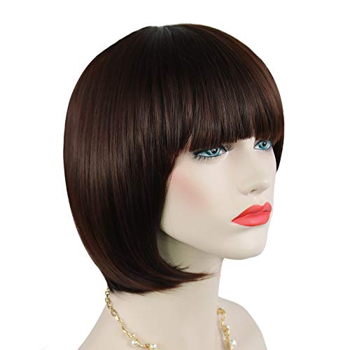 Parrucca caschetto corto Quesuc parrucca marrone scuro da donna, parrucca sintetica corta dritta con cappuccio per capelli lisci
