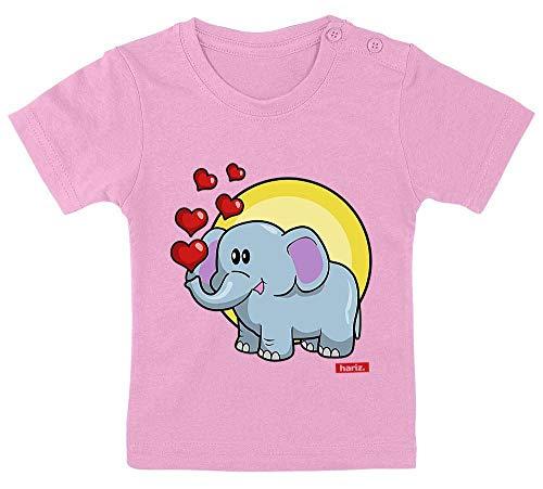 Hariz, maglietta per bambini, elefante, cuori, profumi, animali, asilo, con bigliettini regalo, zucchero filato rosa, 3-9 mesi, 60-69 cm