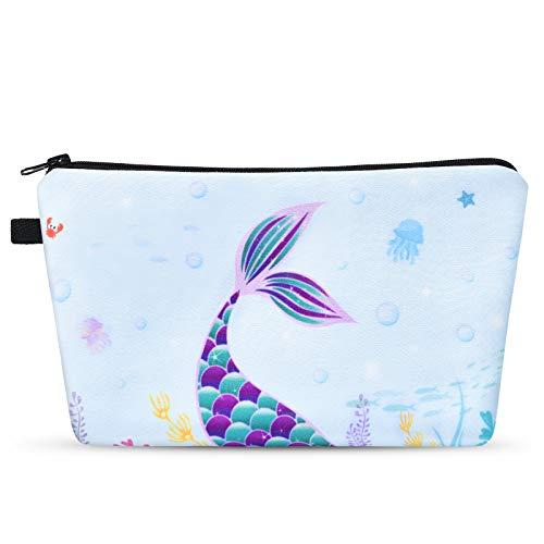 Sacchetto Cosmetico Sirena - Borsa per il Trucco da Viaggio Donna Ragazze Portamatite Portatile Organizer per Articoli da Toeletta Resistente All'acqua Regali di Natale di Compleanno
