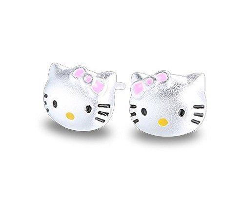 Findout, orecchini con gattini stile Hello Kitty in argento Sterling, per donne, ragazze e bambine(f1759)