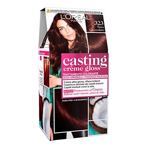 L'Oréal Paris Tinta Capelli Casting Creme Gloss, senza Ammoniaca per una Fragranza Piacevole, 323 Nero Cioccolato, Confezione da 1
