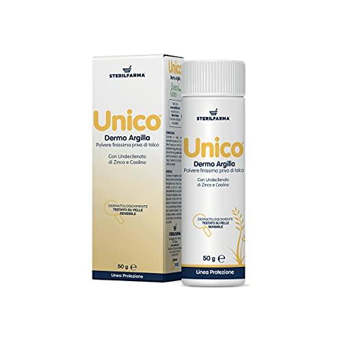 Unico Dermo Argilla - IDEALE PER IL PIEDE DELL'ATLETA E LA SUDAMINA - priva di talco - assorbe l'umidità corporea grazie al Caolino, Con Undecilenato di Zinco,crea una barriera protettiva sulla pelle