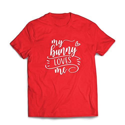 lepni.me Maglietta da Uomo Il Mio Coniglietto Mi AMA Carino Animale Domestico Amante Vestito di Pasqua Felice (Medium Rosso Multicolore)