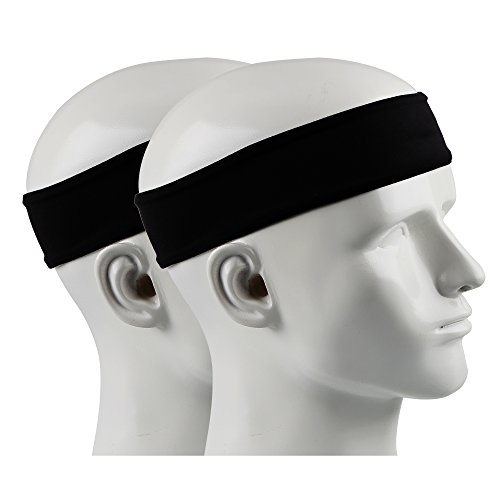 IPOW 2 pz Headband Fasce da Corsa Fascia Capelli Uomo Fascia antisudore Testa Antisscivolo e e Antisudore Traspirante Fascia Elastica per Corso, Viaggio, Yoga, Pilates, Donna e Uomo, Nero