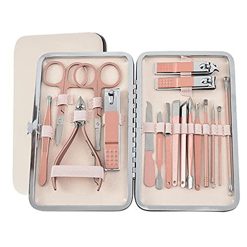 Tagliaunghie Set Manicure Professionale Set Manicureure Pedicure Manicure Set, set manicure uomo Kit Cura Unghie Donna Manicure e Pedicure Attrezzi Kit Professionale 18 Pezzi con Box