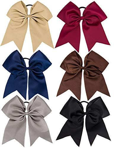 Whaline - Fiocchi per capelli da 20 cm in grosgrain con fiocco per cheerleader, fascia elastica per capelli, accessorio per capelli per ragazze, adolescenti e donne