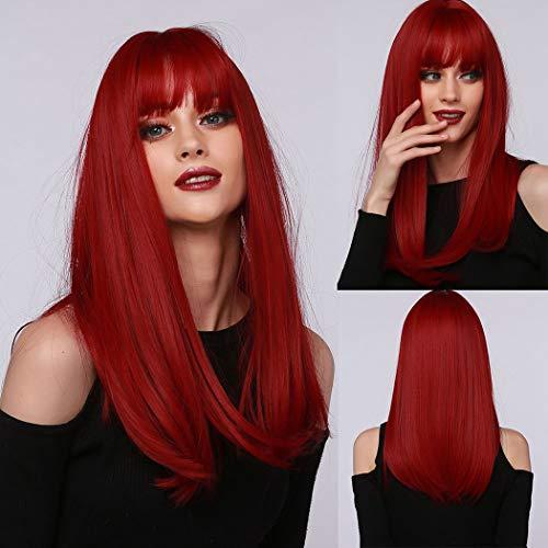 TANTAKO® Parrucche rosse lunghe dritte con frangia parrucca sintetica resistente al calore per le donne(Rosso-347)