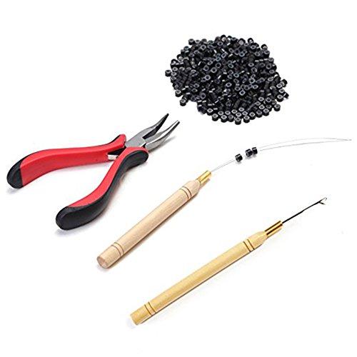 Kit per extension per capelli contenente pinza e gancio, kit di perline, 500 micro anelli (perline nere)