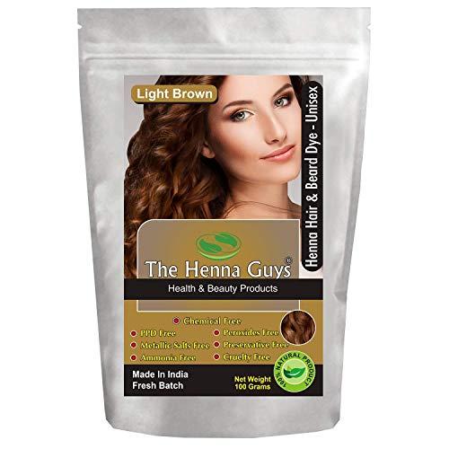 1 confezione di tinta / colore per capelli e barba marrone chiaro all'henné - The Henna Guys