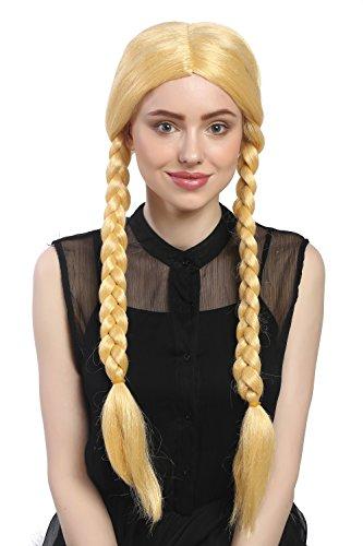 WIG ME UP - 90958-ZA88C Parrucca Donna Carnevale Due Trecce Biondo Oro Giallo Goldmarie 60 cm