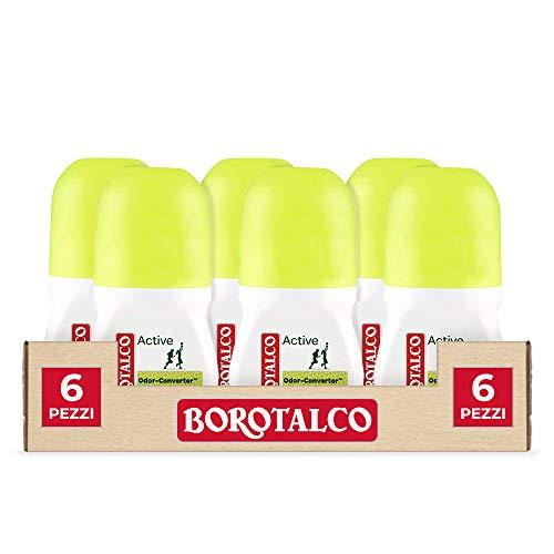 Borotalco, Deodorante Roll-On Active con Odor Converter, Più Sudi e Più Si Attiva, Profumo di Cedro e Lime, Giallo - 6 Flaconi da 50 ml