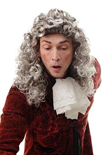 WIG ME UP - AD-002-P4T309 Parrucca Uomo Donna Carnevale Castano Grigio Grigio Argento Taglio Vokuhila Mullet Tamarro Riccia Barocco Nobiluomo Giudice Cavaliere Lord