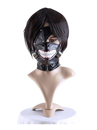 COSPLAZA Tokyo Ghoul Kaneki Ken in pelle, con cerniera, colore: nero-Parrucca da Cosplay Mask