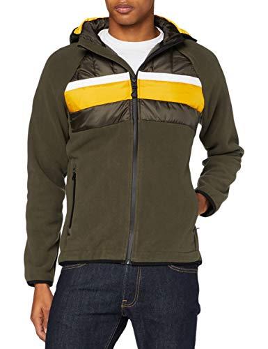 Superdry Chestband Hybrid Zip Thru Giacca, Dark Grey Green, L Uomo
