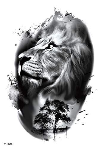 Tatuaggio a forma di leone, ideale per party e festival, TH623