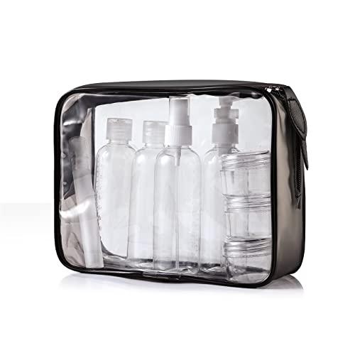 YOKGO Beauty Case de Viaggio | Trousse Trasparente | 8 Bottiglie(Massimo 100ml) | Volo Borsa da Toilette Viaggio Custodia Trucco(20x20cm) | Trousse da Viaggio Beauty Case
