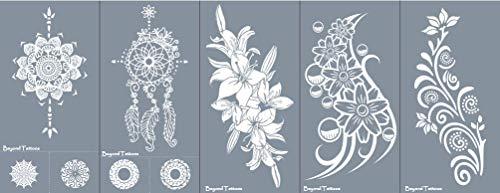 Set di 5 stencil per tatuaggi con motivo Lily Acchiappasogni, tatuaggi, mandala