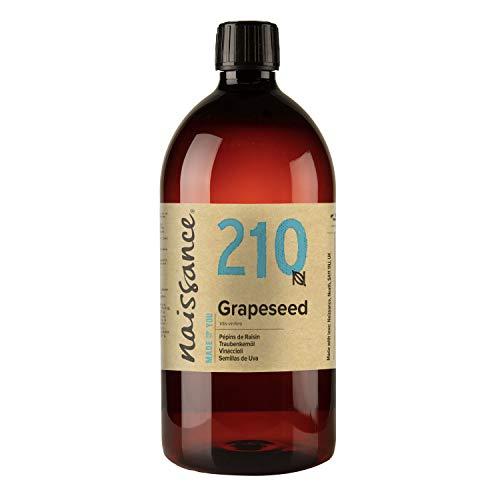 Naissance Olio di Vinaccioli - Olio Vegetale Naturale al 100%, Vegano, senza OGM, Idratante, usato per Massaggio e Capelli - 1L
