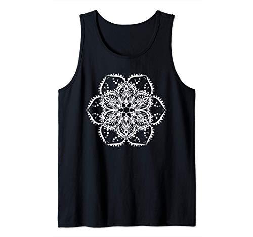 Bianco Fiore di Loto Mandala Yoga Hippie Tatuaggio Maglietta Canotta