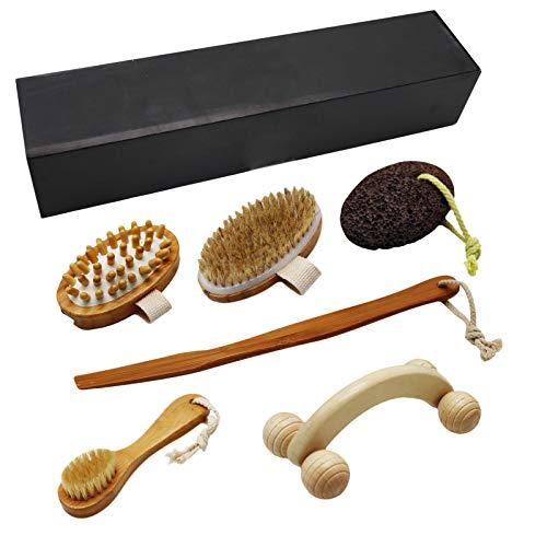 TUAKIMCE Spazzola Corpo Spazzole da bagno per spazzolatura a secco, Manico lungo in legno rimovibile + Pennello per il viso + Pietra pomice per rimuovere la pelle morta e ridurre