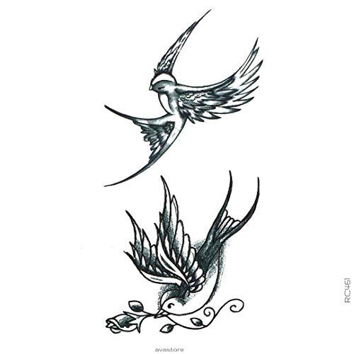 AVASTORE - Tatuaggio temporaneo da donna e uomo, motivo: rondini