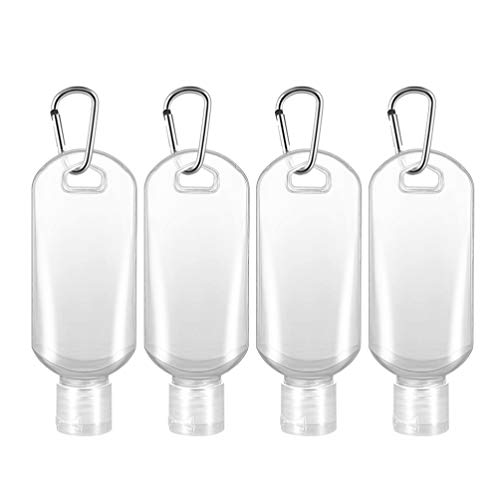 Minkissy Empty Squeeze Bottles with Filp Cap,50ml Leak Proof Keychain Toiletry Botlle Refillable Toiletry Containers for Shampoo,Liquid,Travel,10pcs(Transparent,Random Color Hook)