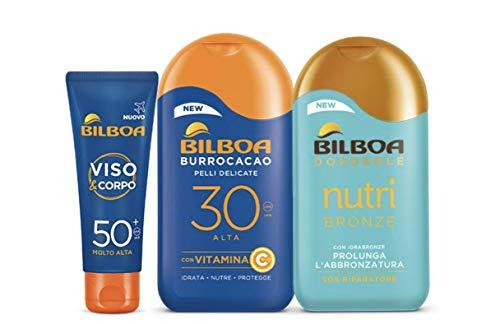 Bilboa Kit Protezione Solare Con Latte Burrocacao, Crema Viso e Corpo e Doposole, Protezione Alta SPF 30 e SPF 50+, Doposole Nutribronze per Prolungare l'Abbronzatura, 3 Pezzi, 475 ml