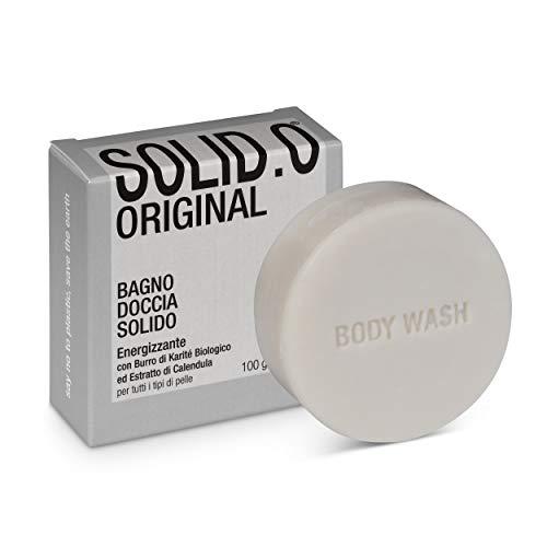 Bagno-Doccia Docciaschiuma Solido Energizzante SOLID.O ORIGINAL, Confezione 100% ecologica senza plastica, maxi bar da100 g