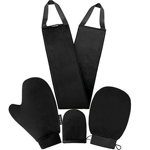 YVOIER Kit autoabbronzante Kit applicatore 4 in 1 Kit auto-applicatore con guanto esfoliante,guanto autoabbronzante, applicatore autoabbronzante per la schiena, guanto per lozione per lozione Tanner