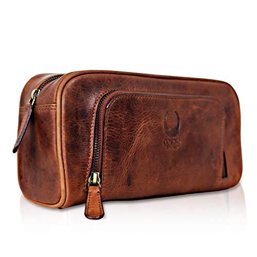 Corno d´Oro Beauty case da viaggio uomo in vera pelle, trousse per bagno toilette portaoggetti organizer marrone artigianale