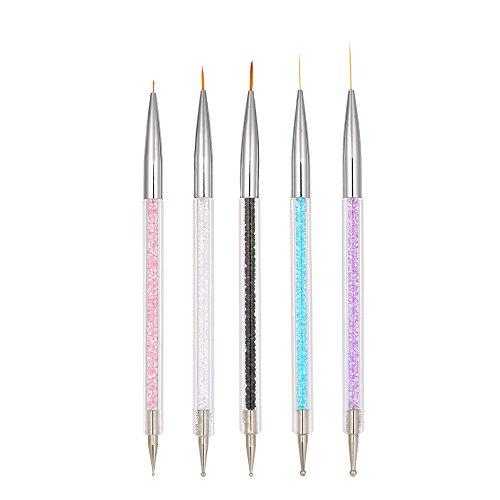 Pennelli Nail Art,5Pcs Pennello Nail Art Penna Di Disegno Cristallo Acrilico Nail Art Pittura Disegno Linea Di Nylon Capelli Strumento Di Manicure