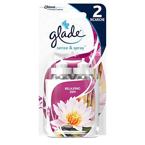 Glade Sense & Spray Doppia Ricarica, Deodorante per Ambienti con Sensore di Movimento, Fragranza Relaxing Zen, Confezione da 2 Ricariche, 18 ml