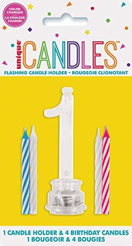 Unique Party 37531 - Candela di Compleanno Numero 1 Cambia Colore Lampeggiante Portacandela Con 4 Candele