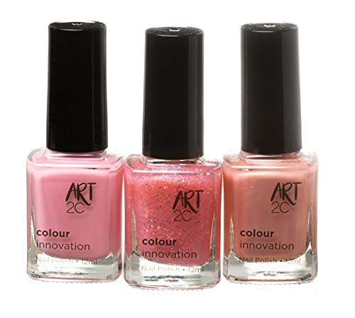 Art 2C, Colour Innovation - Set da 3 smalti per unghie classici, 3 x 12 ml - 3 colori Pink&Girly