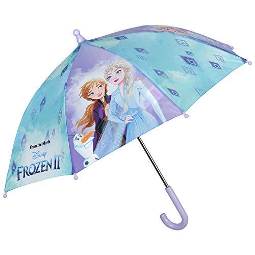 Ombrello Frozen 2 Lungo Bambina - Ombrellino Apertura Manuale Bimba - Ombrello Disney con Elsa e Anna - Resistente Sicuro e in Fibra di Vetro - Bimbe 3/5 Anni - Diametro 66 cm - Perletti Kids