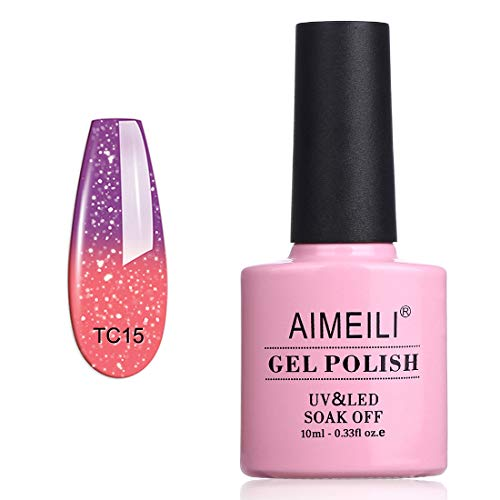 AIMEILI Soak Off UV LED Samlto in Gel Semipermanente che Cambia Colore con la Temperatura - New Glitter Purple To Pink (TC15) 10ml