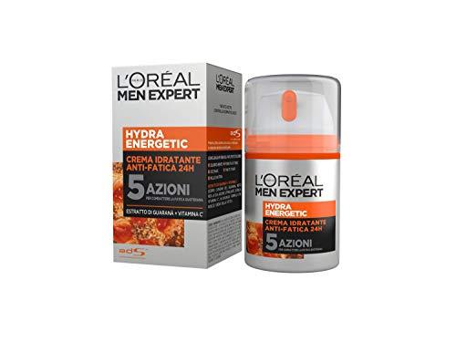 L'Oréal Paris Men Expert Crema Viso Uomo Hydra Energetic, Crema Idratante con Estratto di Guaranà e Vitamina C, 50 ml, Confezione da 1