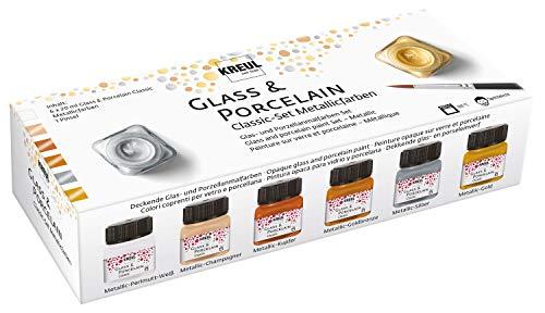Kreul 16603 - Set Classic di colori metallizzati, 6 x 20 ml di colore e un pennello, colori brillanti e metallizzati, per vetro e porcellana a base d'acqua