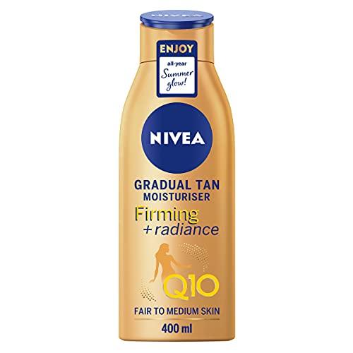 Nivea Q10 rassodante + radiance graduale Tan (400 ml), crema rassodante abbronzante con Q10, sostiene un'abbronzatura graduale, idratante abbronzante per una bagliore radiante baciata dal sole