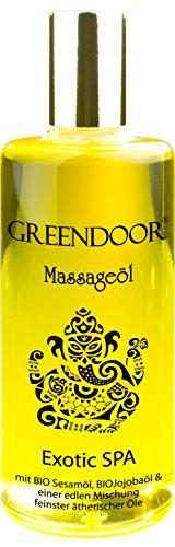 Olio nuovo Greendoor massaggio esotico SPA 100ml - olio di sesamo, olio di Jojoba biologico & olio di macadamia biologico, fruttato floreale miscela di oli essenziali puri